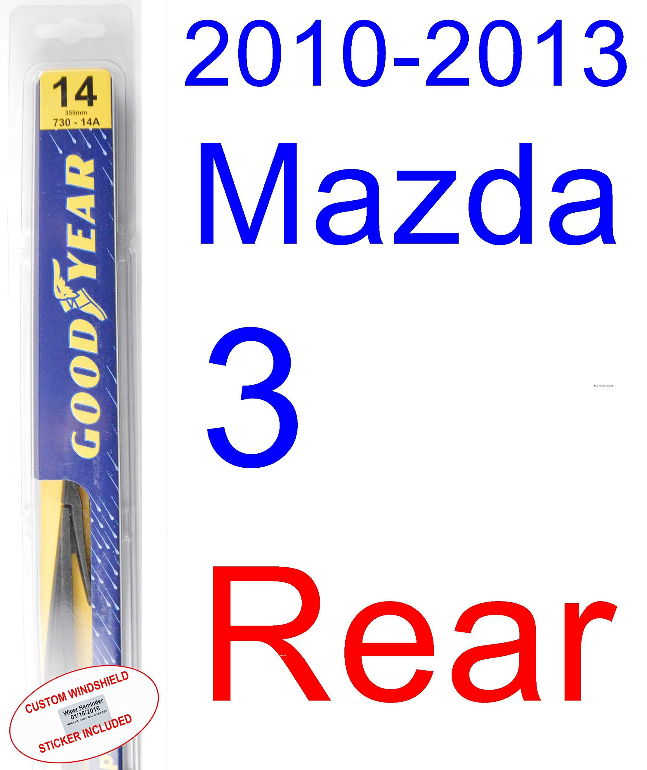 "14/"" Rear Windshield Wiper Blade Hybrid 3 Section For Mazda 3 2010+"