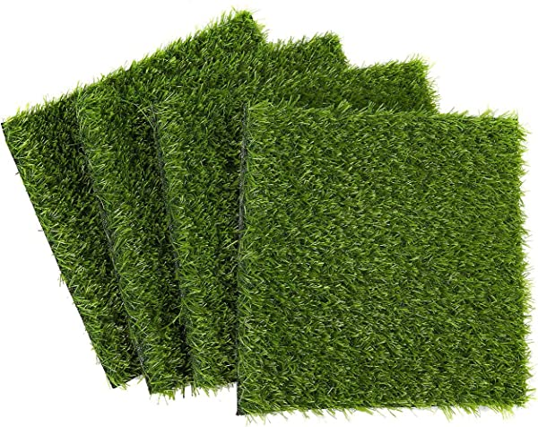 Juvale Synthetic Grass 4 Pack Artificial Lawn Fake Grass Patch Pet Turf Garden Pets Outdoor Decor Non Slip Turf Green 12 X 0 25x 12 Inches