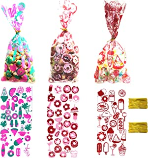 Donut Party Supply Candy Bags, 150 Pack Donut Party Favor Birthdays Gift Treat Bags for Boy,Girl Donut Party, Summer Ice C...