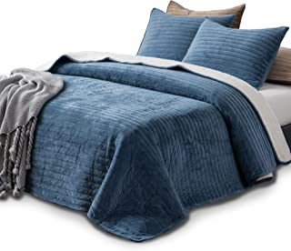 KASENTEX Plush Poly Velvet Lavish Design Quilt Set with Reversible Shu Velveteen Sherpa - Luxurious Bedding Soft & Warm Comforter Machine Washable Comforter (Heavenly Blue, Queen + 2 Shams)