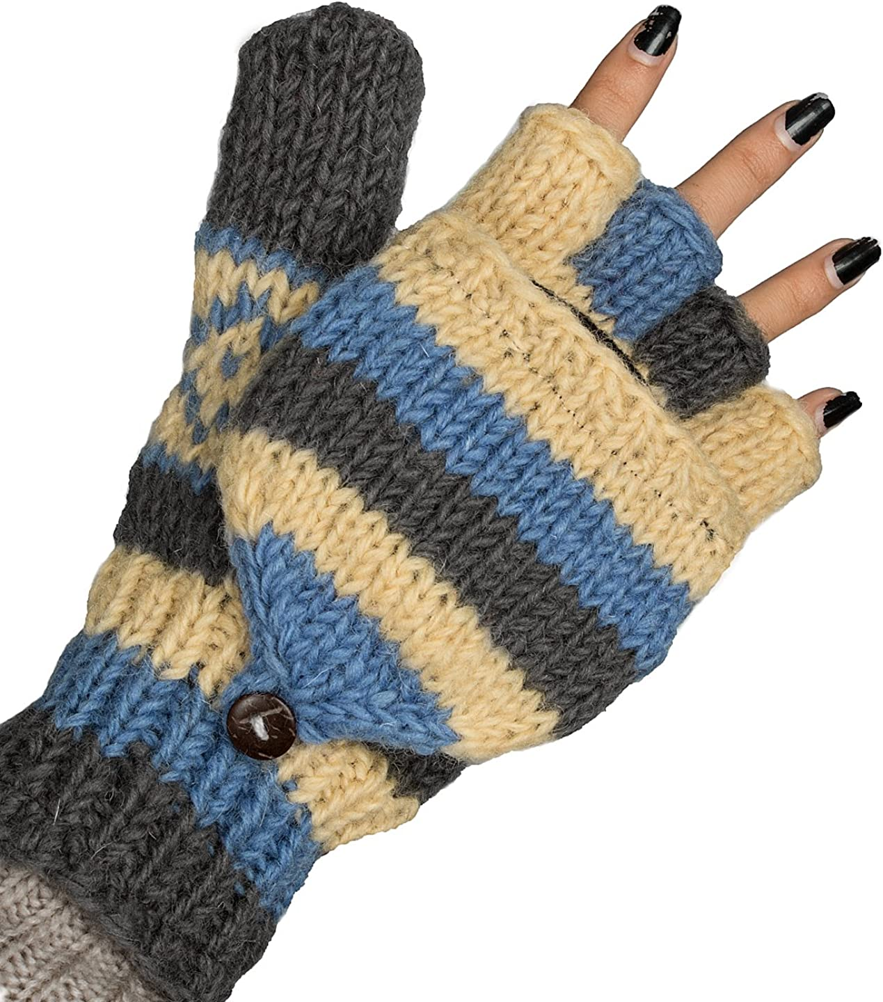 Convertible 100% Wool Mittens Gloves Soft Pure Winter Warm Thinsulate Thermal