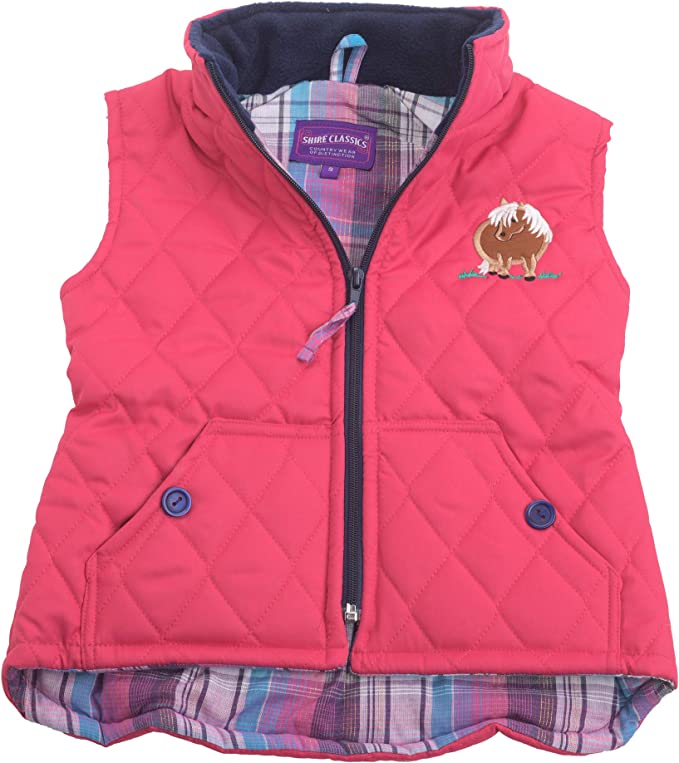 SHIRE CLASSICS Girls Embroidered Padded Horse Gilet Body Warmer