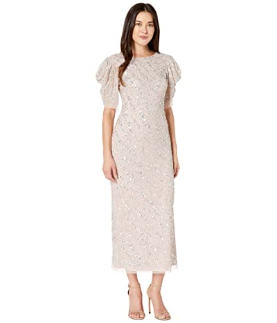 Adrianna Papell Beaded Ankle Length Cocktail Dress with Draped Sleeves (Almond Cream) Women