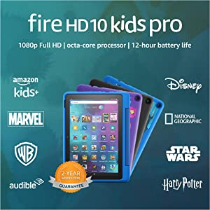 """New: Fire HD 10 Kids Pro tablet  for ages 6-12   10.1"""", 1080p Full HD, 32 GB   Sky Blue Kid-Friendly Case"""