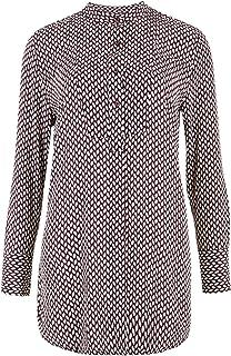Marks & Spencer Women's Geometric Bib Detail Long Sleeve Blouse, IVORY MIX