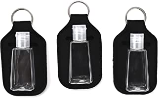 Zario Empty Travel Size Bottle and Keychain Holder - Refillable Bottles for Soap, Lotion, and Liquids - 30 ML Flip Cap Reusable Bottles with Keychain Carriers (black)