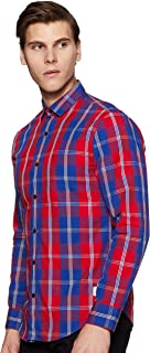 Peter England Men's Checkered Loose Fit Casual Shirt