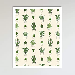 Cactus and Succulents Pattern design Boho Style Art Print Poster, Contemporary Farmhouse Living Room, Kitchen and Home Wall Décor, 11x14 inches, Unframed