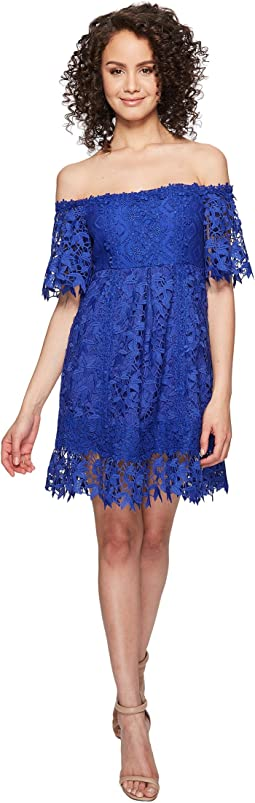 Nicole Miller Zahra Crochet Lace Off the Shoulder Dress