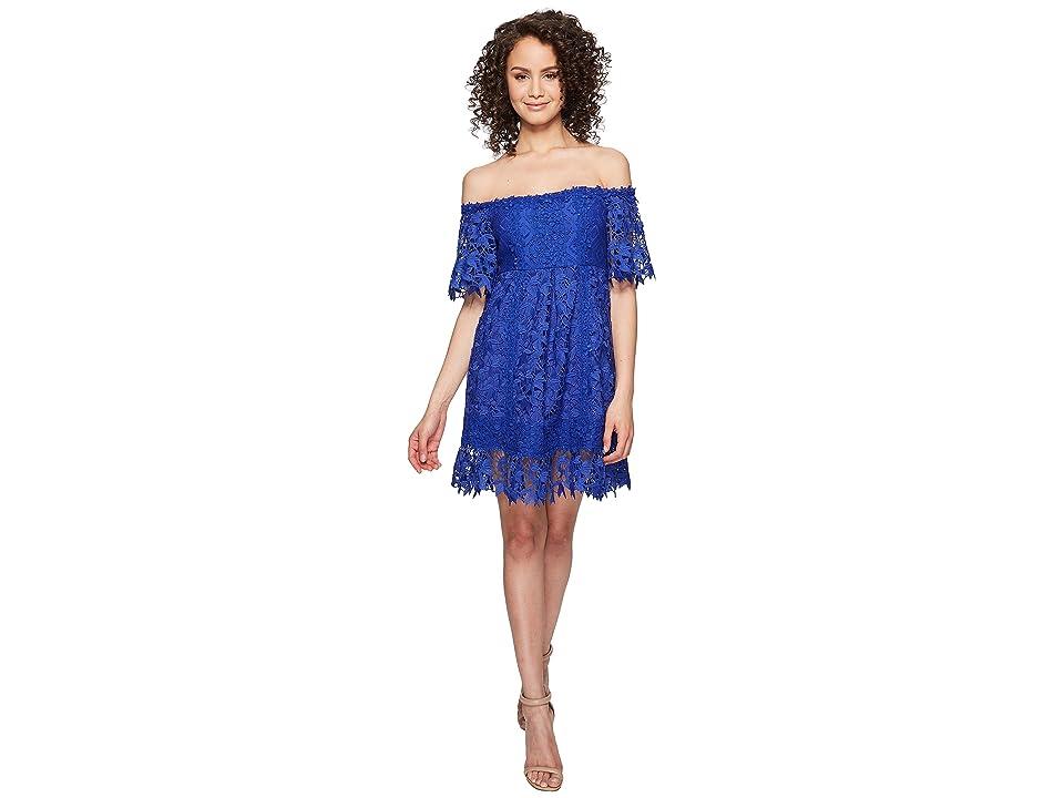 Nicole Miller Zahra Crochet Lace Off the Shoulder Dress (Blue Oasis) Women