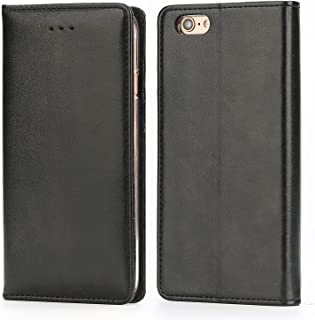 iPhone 6S Plus Leather Case, IPHOX Premium Folio Leather Wallet Case with [Kickstand] [Card Slots] [Magnetic Closure] [Hand Strap] Flip Notebook Cover Case for iPhone 6/6S Plus E (Black)