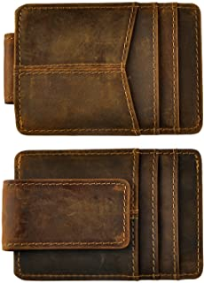 Genuine Leather Thin Card Case Holder Slim Handy Wallet Front Pocket