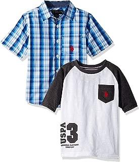 Boys' Short Sleeve Woven Henley T-Shirt Set