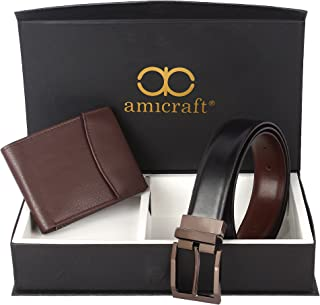 Amicraft Multicolour Synthetic Leather Men's Combo Pack of Wallet and Belt