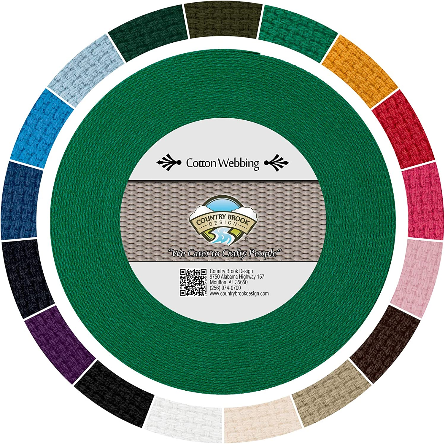 Country Brook Design - Max Many popular brands 50% OFF Kelly Green Cotton 17 with Webbing Heavy