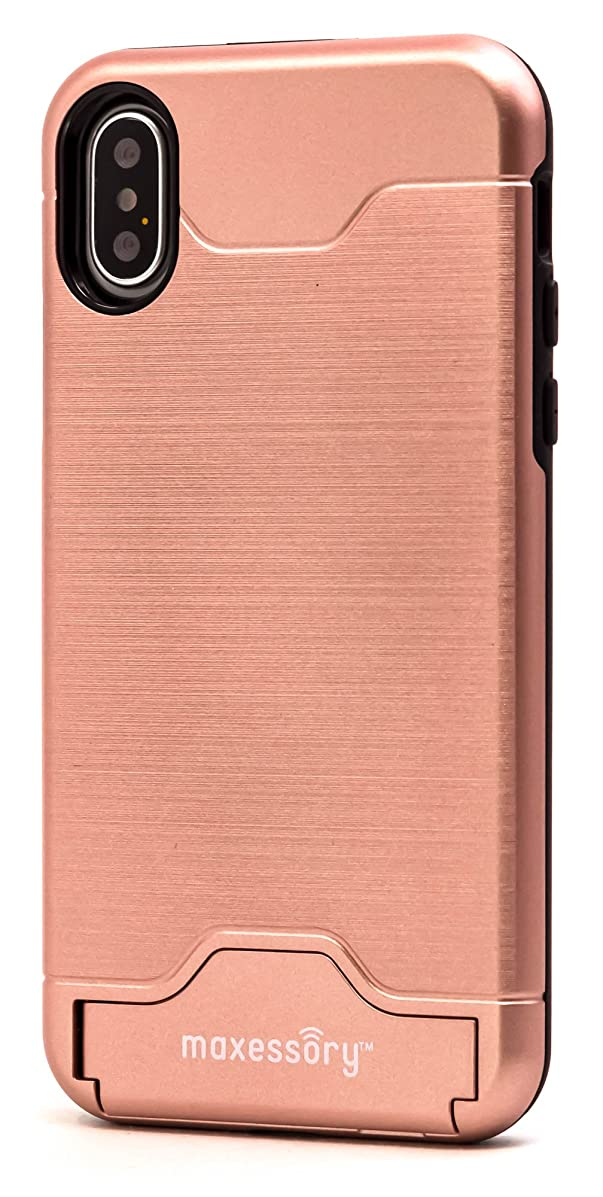iPhone X Case, Maxessory Rose Gold Maestro Credit Card Holder Shock-Proof Kickstand Dual-Layer Shield Hybrid Matte Slim Premium Professional Shell Cover
