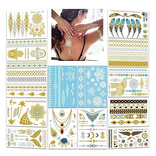 d0c0876ad Terra Metallic Tattoos,Konsait 12 Sheets 174 Designs - Jewelry Mandala  Mehndi BohoTribal Body Art