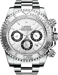 LOREO Mens Automatic Machine Multifunction Silver Stainless Steel Sapphire Glass Waterproof Watch
