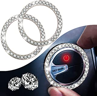 Crystal Rhinestone Car Engine Start Stop Decoration Ring,Dermasy 2PCS Push to Start Button Key Ignition and Knob Bling Cry...
