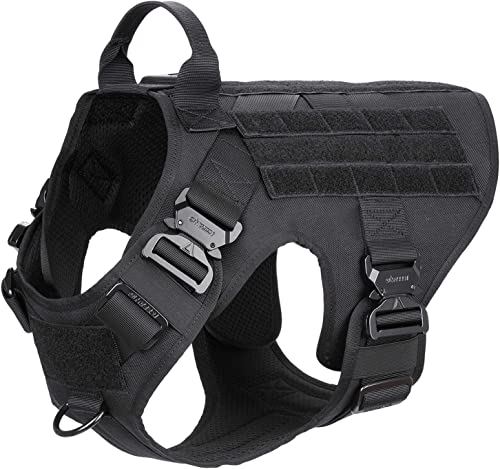 "ICEFANG Tactical Dog Harness,K9 Working Dog Vest,No Pulling Front Clip Leash Attachment (L (28""-35"" Girth), Black-4x ..."