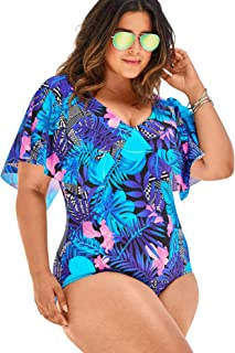 3ba37a287c29b Swimsuits For All Women's Plus Size Flutter-Sleeve One-Piece with Sewn-in