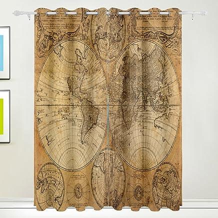 MyDaily Carte Du Monde Vintage Isolation Thermique Occultant Oeillets  Fenêtre Rideaux Pour Le Salon Chambre à