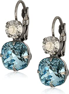 Blue Floating Grey Diamond Earrings Unusual Interesting Blue Hovering Hematite Dangle Earrings