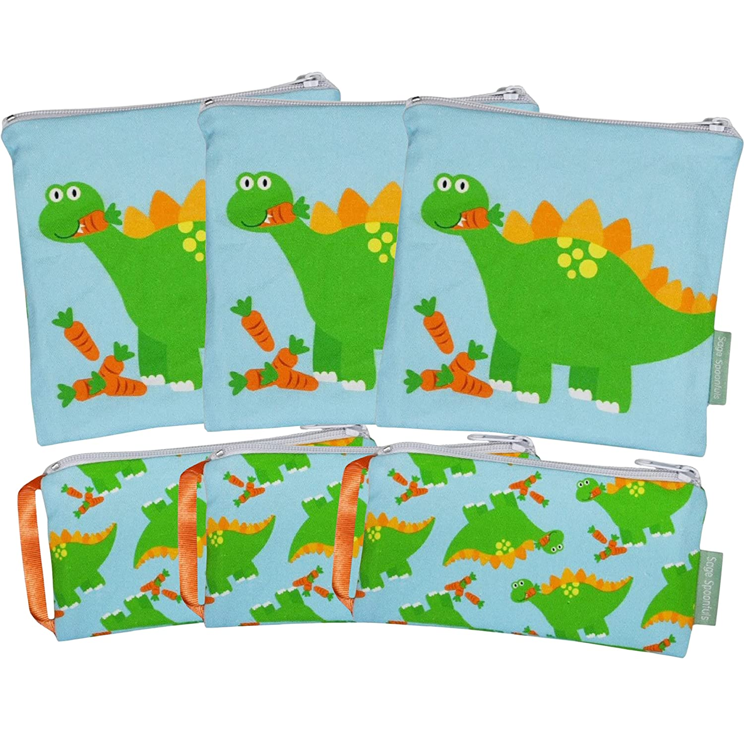 Sage Spoonfuls Reusable Snack and Lunch Bag Set - 3 Sets Of Sandwich and Snack Bag 2-Packs - Machine Washable, Cotton Exterior, Free of BPA, Phthalate, Lead and PVC - Dino - 6 Pieces