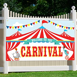 ORIENTAL CHERRY Carnival Party Supplies - Circus Decorations - Carnival Theme Large Backdrop Banner Sign for Kids Birthday School Outdoor Home Wall Decor