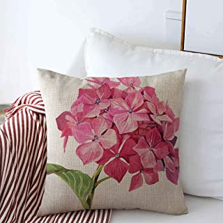 Starobkn Throw Pillow Covers Painting Green On White Pink Hydrangea Nature Red Bloom Botany Charm Color Colored Design Cushion Square Decorative Case Linen for Winter Sofa Bed 18