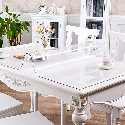 kelann PVC製 厚さ1mm テーブルクロス 透明 テーブルマット デスクマット テーブルクロス 長方形 防水 撥水 耐久 汚れ防止 (透明 厚さ1mm, 80*150cm)