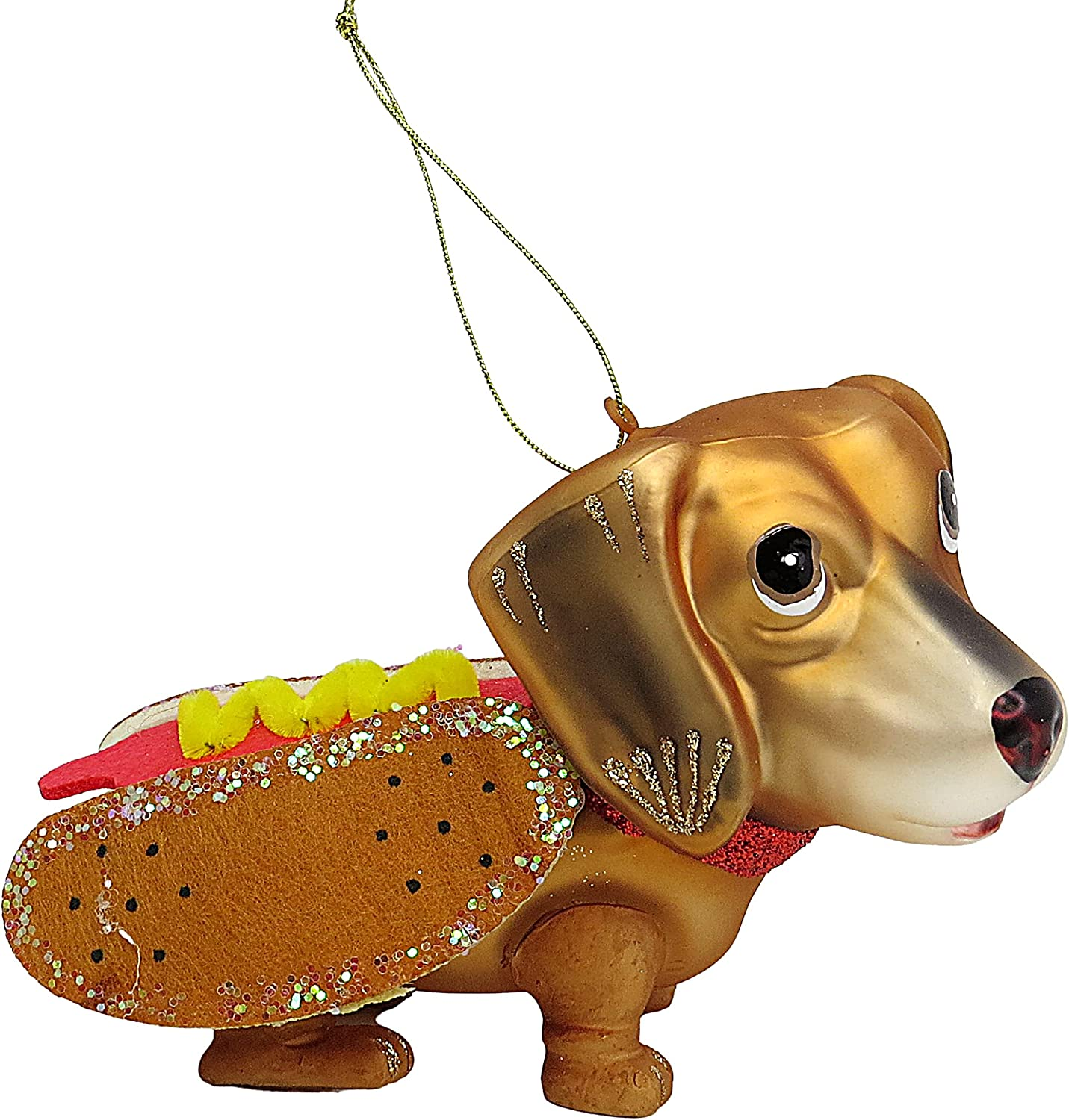 Hand Blown Glass Weiner Dog Dachshund First Christmas 2021 Tree Ornament, Food and Puppy Ornaments Funny Holiday Decorations for Home, 3.75 inches