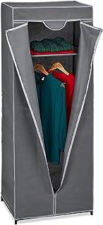 Relaxdays 10035769_139 Penderie en Tissu avec Tringle à vêtements et 1 étagère, HLP 157x60x45 cm, Armoire Pliante, Solide,...