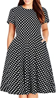 60225da99f Nemidor Women s Round Neck Summer Casual Plus Size Fit and Flare Midi Dress  with Pocket