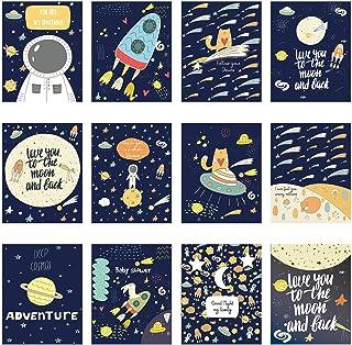 12pcs Poster de l'Espace Affiche pour Décoration Murale de Chambre d'Enfant Garçon Fille, Poster de Galaxie aux Motifs Pla...