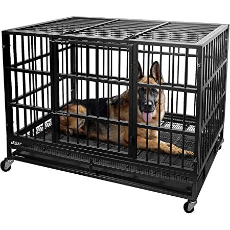 Lemberi 48 inch Heavy Duty Dog Crate cage,Extra Large Dog Crate Kennel,Indestructible high Anxiety Dog Crate,Easy to Assemble, XXL Large Dog Crate for Outdoor and Indoor with Removable Tray