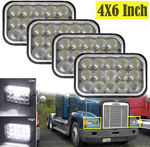 """discount 4x6"""" LED Sealed Beam online Headlights For Freightliner FLD120 FLD112 High Low discount Beam H4651 H4652 H4656 H4666 H6545 Super Bright Replacement, Pack of 4 sale"""