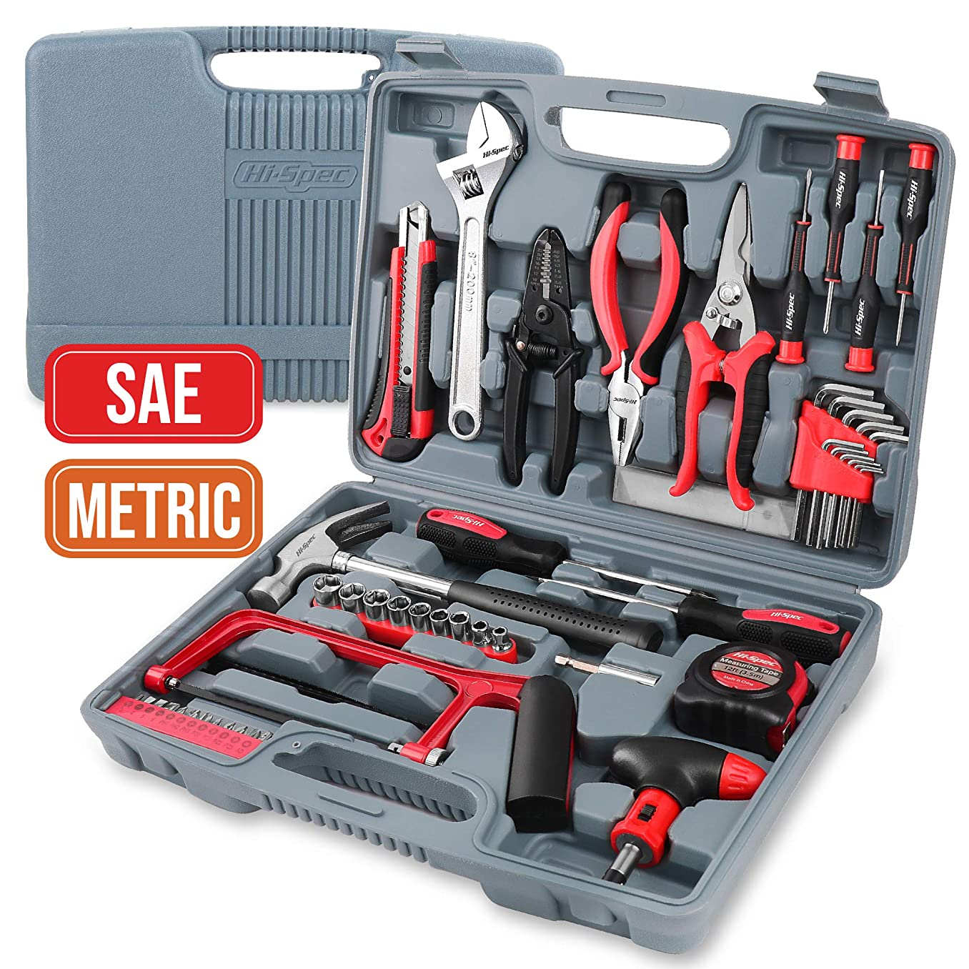 """Hi-Spec 53 Piece Household Tool Kit with Claw Hammer, Hack Saw, Wire Strippers, Crimpers, 1/4"""" Drive Sockets, Combination Pliers & Ratcheting Bit Driver - Automotive, Electrical, Woodworking Tool Set"""