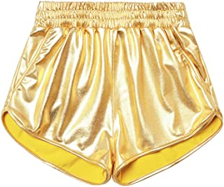 Mirawise Girls Metallic Shorts Shiny Hot Pants Sparkly Dance Outfits Short Pants