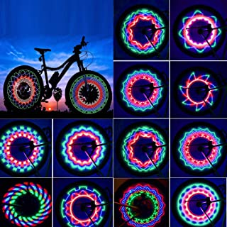 SOOQOO Bicycle Rim Lights, Waterproof Bike Spoke Light, 32LED 32 Changes Patterns Bicycle Wheel Lights, Double-Sided Colorful Bicycle Tire Decorations Lamp Accessories
