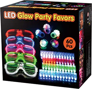 BATTOP 60 Pack LED Light Up Toys Party Favors Bulk Glow in the Dark Party Supplies for Adults Kids Neon Party School Event With 50 Finger Lights,5 Jelly Rings,5 Flashing Glasses