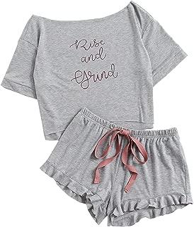 Women's Cute Boat Neck Crop Top and Frill Hem Shorts Pajama Set