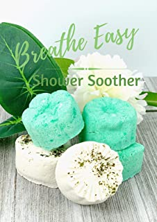 5 Piece EXTRA STRENGTH Breathe Easy Shower Soother Shower Bombs by Stripped Bath & Body - Ease Sinus Congestion - Soothe Headache - Allergy Relief/Great Shower Gift Set!