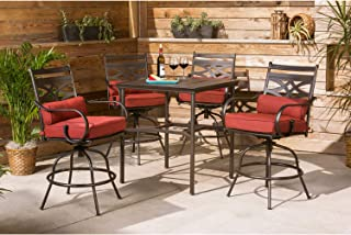 Hanover MCLRDN5PCBR-CHL Montclair 5-Piece High-Dining Patio Set in Chili Red with 4 Swivel Chairs Outdoor Furniture