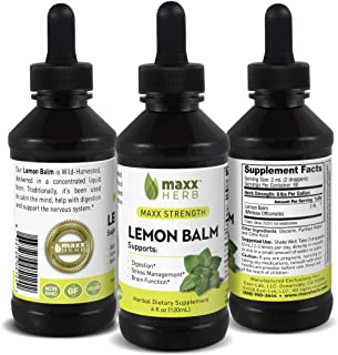 Sponsored Ad - Maxx Herb Lemon Balm Liquid Extract (4 Oz Bottle with Dropper) Max Strength, Absorbs Better Than Lemon Balm...