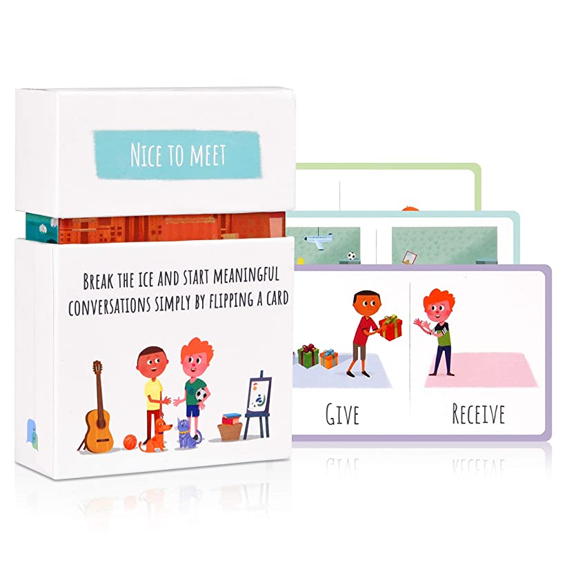 Feeloty Nice to Meet - Family Card Game for Relationship Building - Conversation Starter and Questions for Games Night, Kids, Travel - Fun Icebreaker Table Activity for Social, Communication Skills