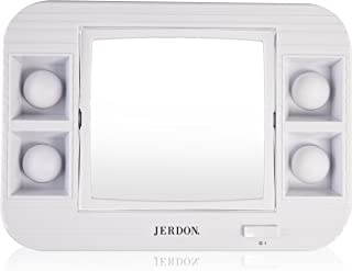 Jerdon J1015 LED Lighted Makeup Mirror with 5x Magnification, White Finish