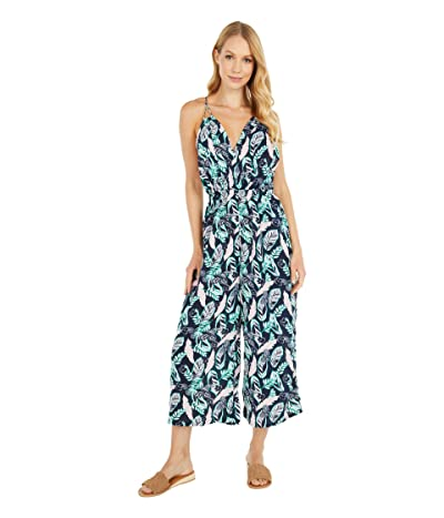 American Rose Addison Spaghetti Strap Tropical Jumpsuit (Navy/Multi) Women