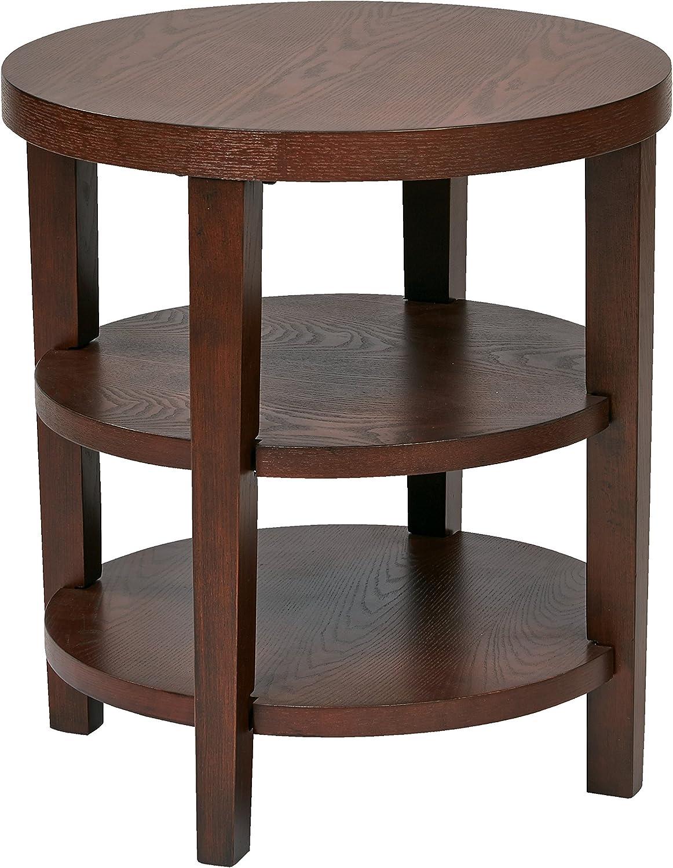 AVE SIX Merge 3-Shelf Wood Grain 20  Diameter Round End Table, Mahogany