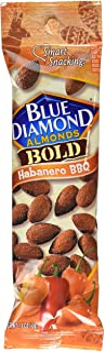Blue Diamond Bold Almonds, Habanero BBQ, 1.5 oz tubes, 12 tubes each box